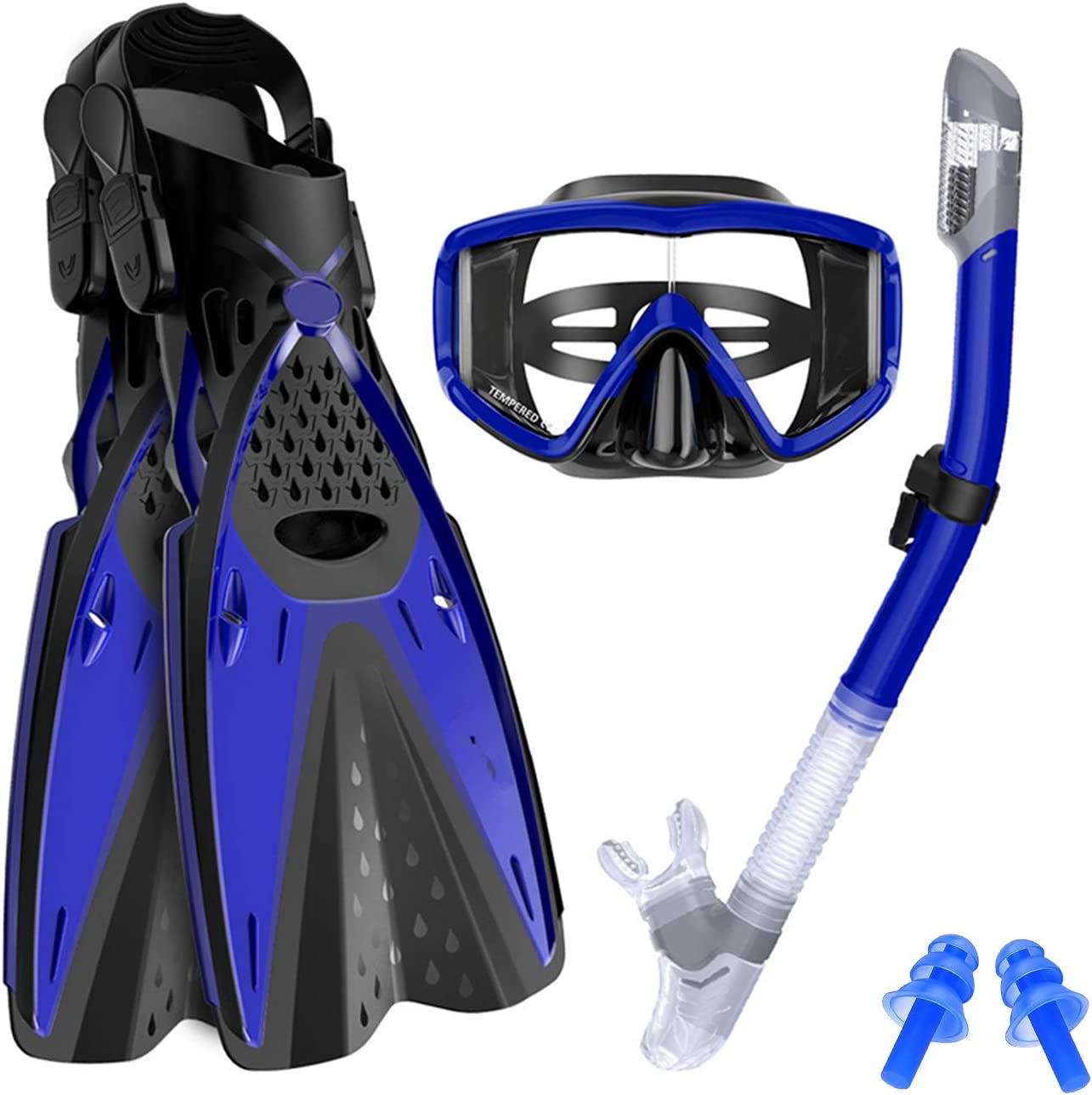 Breathing Tube for Adults and Kids Ertong Scuba Diving Gear Swimming Combo Set Waterproof and Anti-Fog Snorkel Mask+Adjustable Freediving Swimming Fins//Flippers