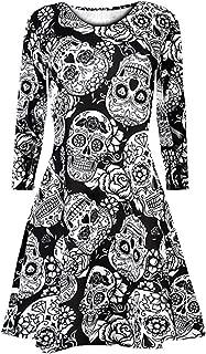 Women's Halloween Costume Long Sleeve Loose Party Dress Casual Flare Midi Printed Swing Dress