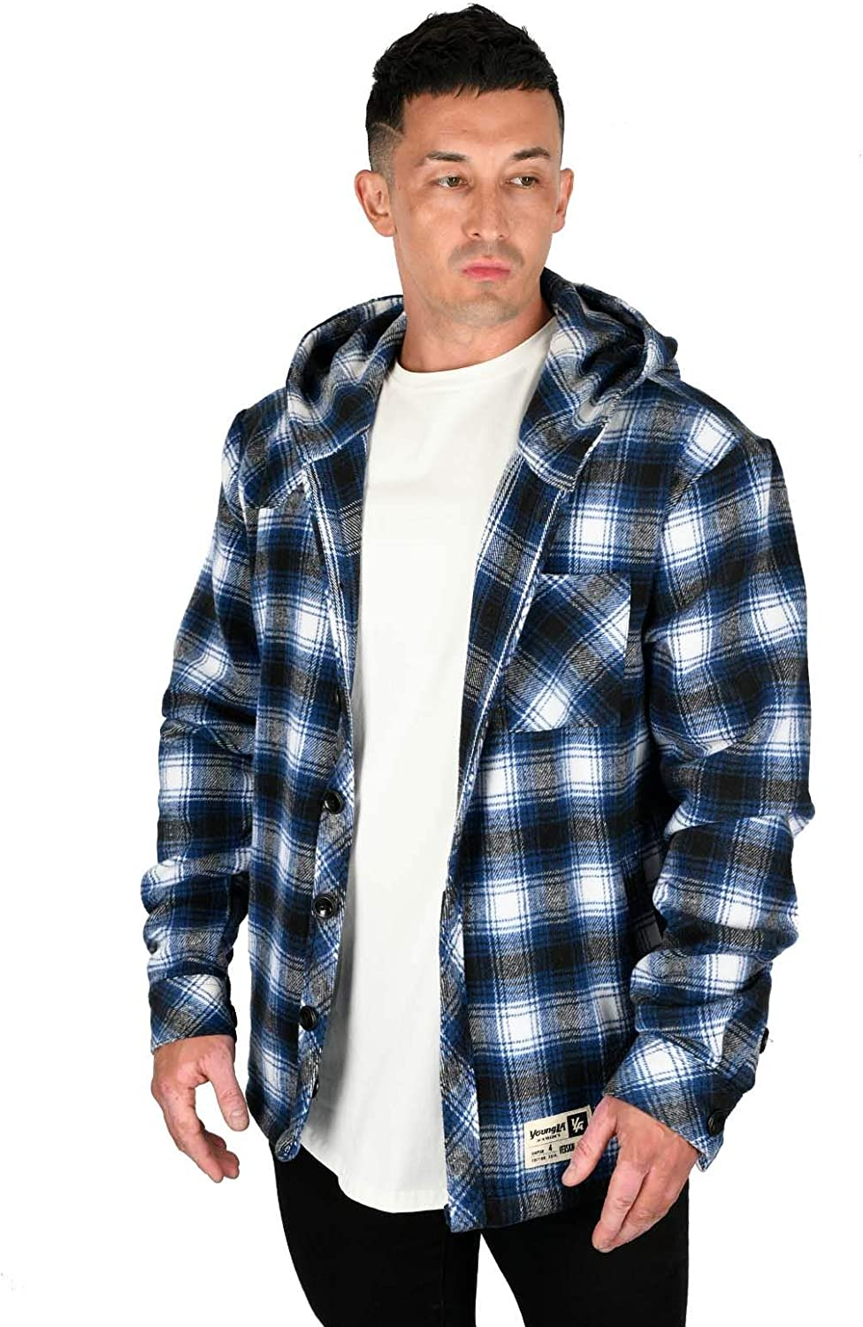 Ranking TOP17 Large special price YoungLA Men's Long Sleeve Hooded Flannel Button Shirt Classic