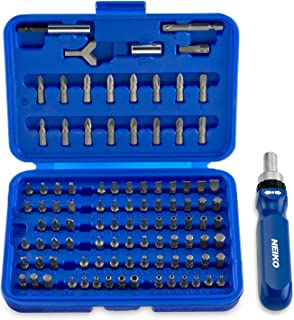 Neiko 10082A Security Bit Set with Ratcheting Screwdriver, Chrome Vanadium Steel | 101-Piece Set