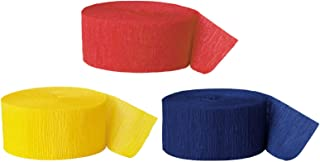 Andaz Press Crepe Paper Streamer Hanging Party Decorations Kit, 240-Feet, Red, Yellow, Navy Blue, 1-Pack, 3-Rolls, Colored Wedding Baby Bridal Shower Birthday Supplies