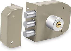 Hermex CS-93, Cerradura de sobreponer máxima seguridad con tres barras, llave de puntos