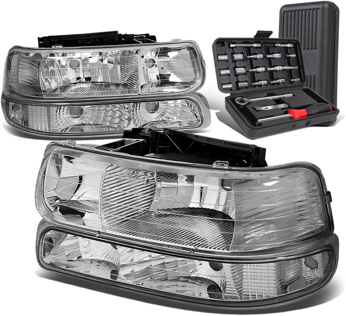 Chrome Housing Clear Corner Headlight w 商店 Kit 超目玉 Re Bumper Lamps+Tool