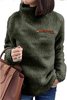 Sherpa Jacket Women Turtleneck Pullover Fleece Loose Sweatshirt Warm Outwear Casual Tunic Tops Blouses