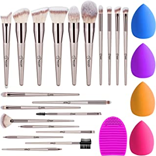 BESTOPE 18Pcs Makeup Brushes Set, 4Pcs Beauty Blender Sponge Set and 1 Brush Cleaner, Premium Synthetic Foundation Make Up Brushes Kit Champagne Gold Conical Handle