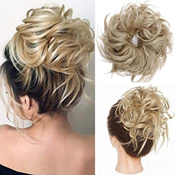 Amazon.com : Fluffy Tousled Updo Messy Hair Bun Hairpiece Messy Bun  Scrunchy Synthetic Up Do Wavy Bun Hair Extensions Easy Chignon Hair Piece  Wrap On Donut Instant Ponytail Up-do Scrunchie For Women
