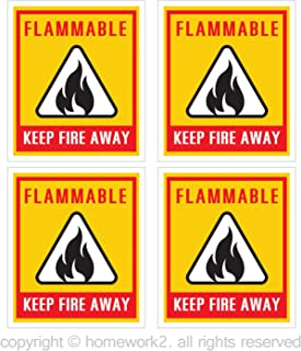 FLAMMABLE KEEP FIRE AWAY Safety Warning Sign Stickers, 3 X 3.5 Inch, Vinyl Decals, UV Protected & Waterproof - 4 Labels