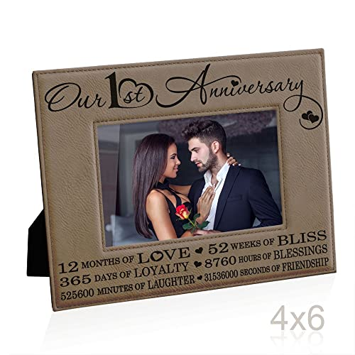 Our First 1st Anniversary Engraved Leather Picture Frame