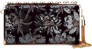 Evening Bag for Womens, Fashion Flower Clutch Purse Sequin Pearl Clutch Decorated with Tassel Pandent
