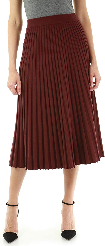 PattyBoutik Women Pleated Midi Knit Skirt