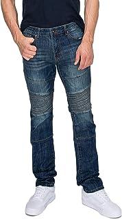 RING OF FIRE Men's Moto Slim Denim Stretch Jeans, Dirty Dozen, 30W x 32L