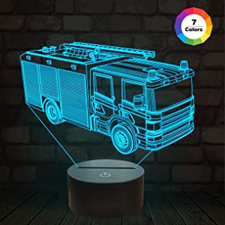 3D Night Light - 3D Illusion Lamp Fire Fighting and 7 Color Change Decor Lamp Xmas Birthday Gifts for Kids, Car Gifts for Boys