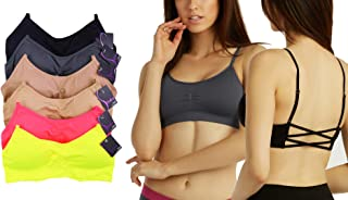 6-Pack: Wireless CrossCut-Back Bralettes W/ Adjustable Straps and Pad- One Size