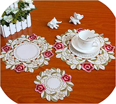 Xia Home Fashions Fancy Flowers Embroidered Cutwork Round Spring Doilies Pink 8-Inch Set of 4 XD101812