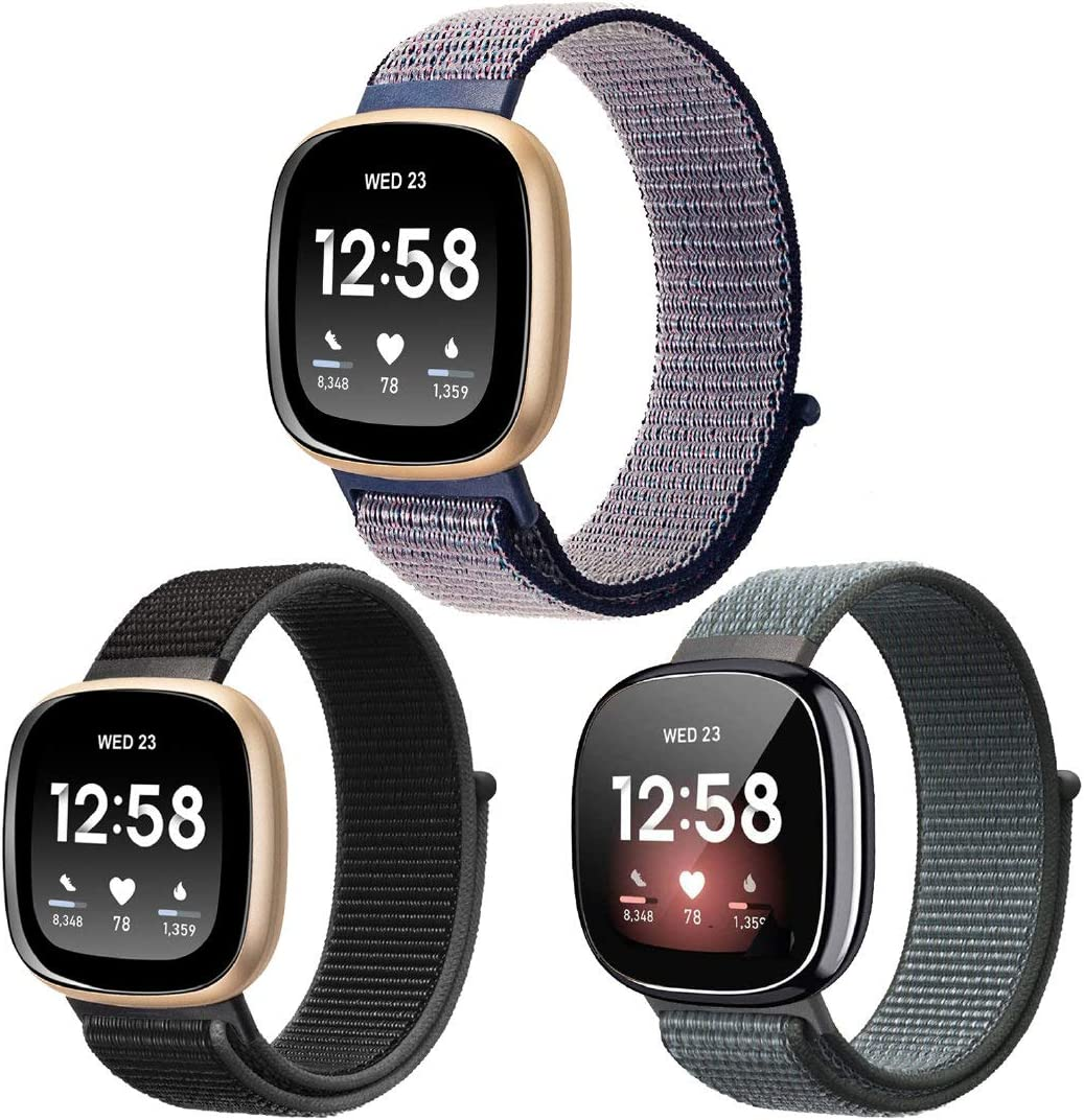3-Pack Nylon Bands Compatible with Fitbit Sense/Versa 3, Soft Adjustable Breathable Sport Replacement Strap Women Men Wristband Accessories for Sense Navy/Black/Gray