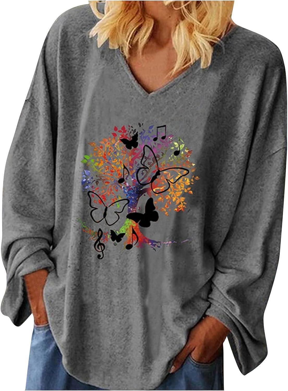 ManxiVoo Womens Tshirts V Neck Long Sleeve Fall Tops Blouse Printed Plain Top Shirts Loose Basic Tees