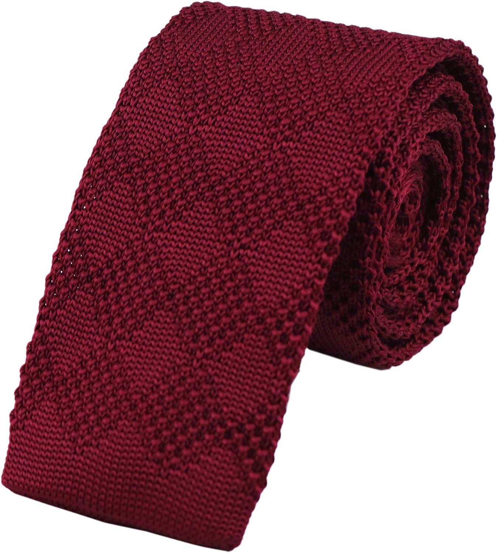 Men's Skinny Knit Tie Vintage Smart Striped Patterned Casual Necktie 2