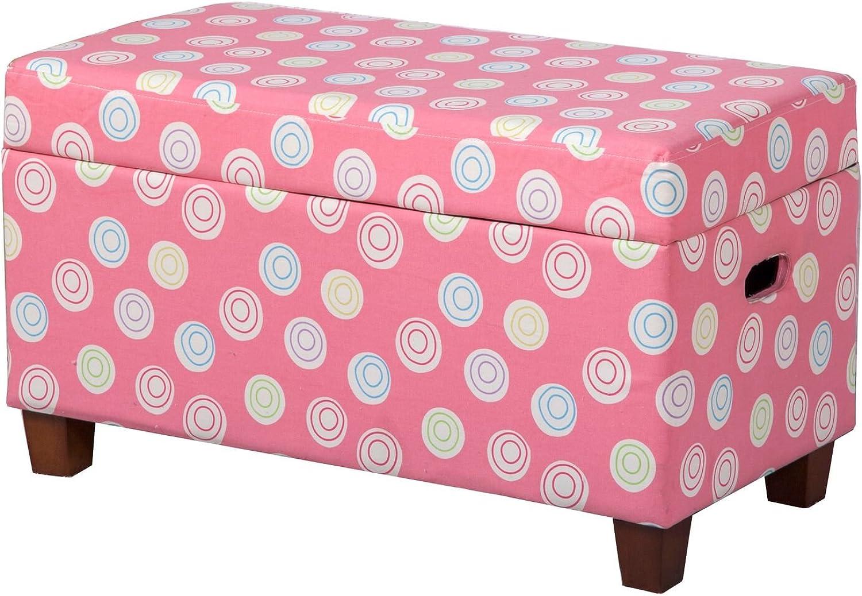Kinfine Juvenile Deluxe Swirl Print Storage Bench, Multicolor Pink