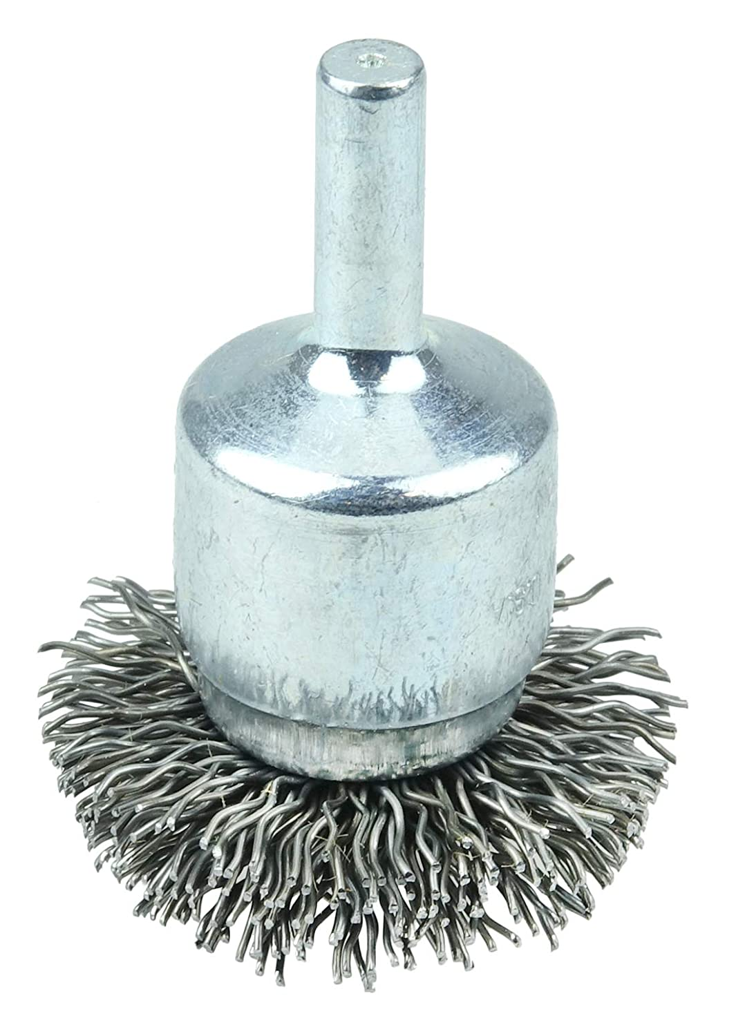 Weiler 10045 1-1//2 Circular Flared Crimped Wire End Brush.006 Stainless Steel Fill