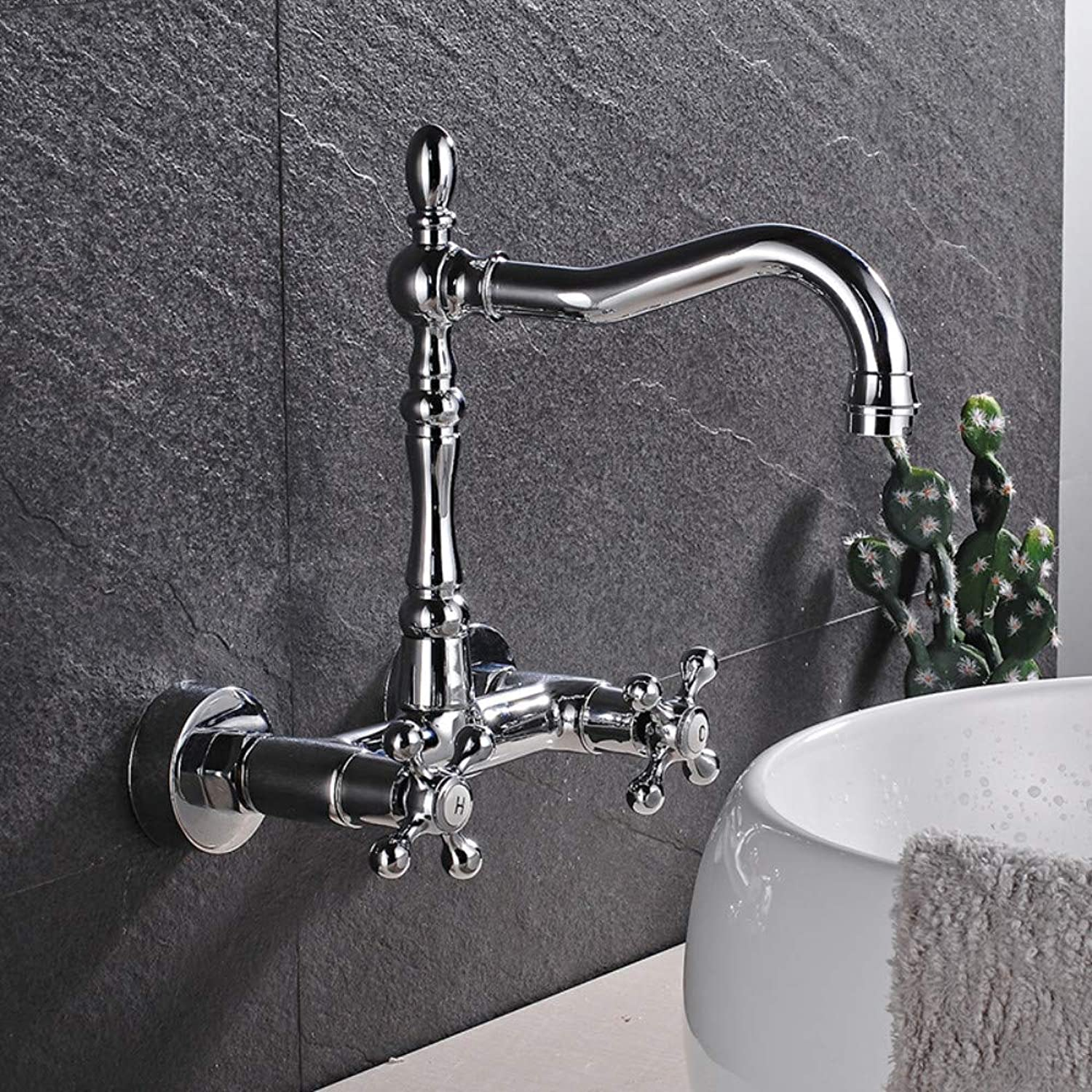 Bathroom Sink Tap Chrome Wall Mounted Bathroom Faucet Dual Handle Basin Sink Mixer Swivel Spout Hot Cold Water Tap 2 Install Hole Faucet