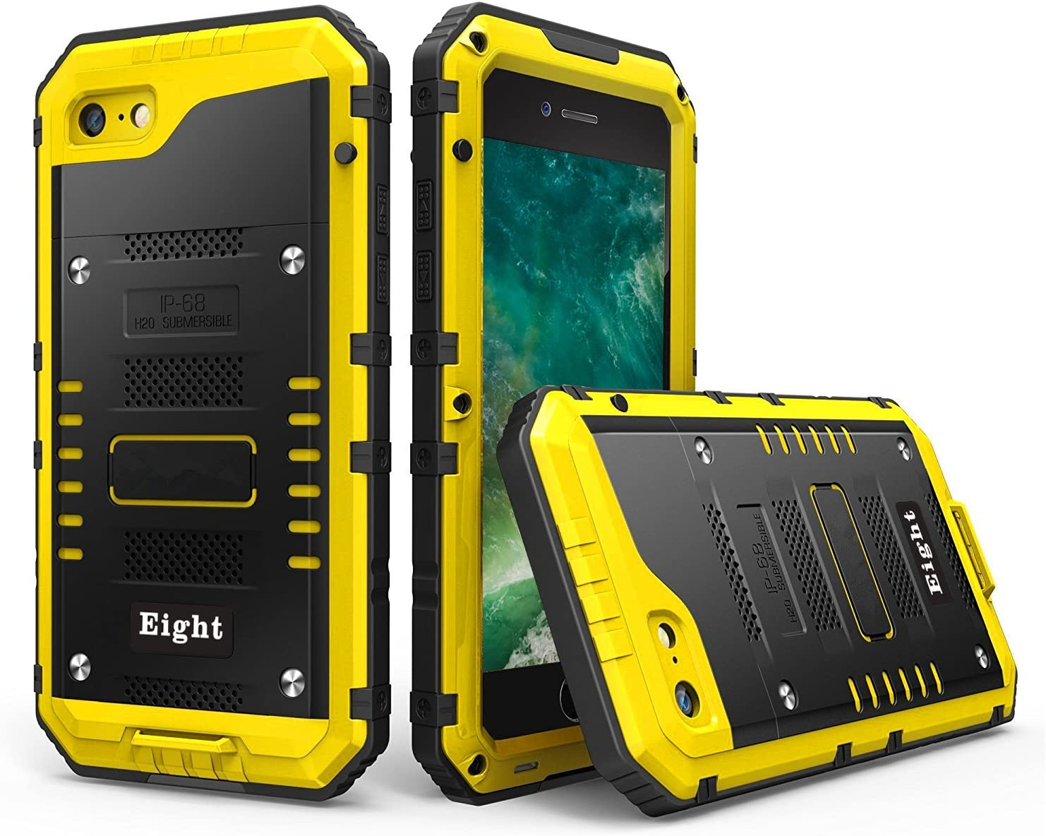 iPhone SE (2020) / 8 / 7 Waterproof Case Heavy Duty with Built-in Screen Full Body Protective Shockproof Drop proof Hybrid Hard Cover Military Outdoor Sport for Apple iPhone SE (2020) / 8 / 7 (Yellow)