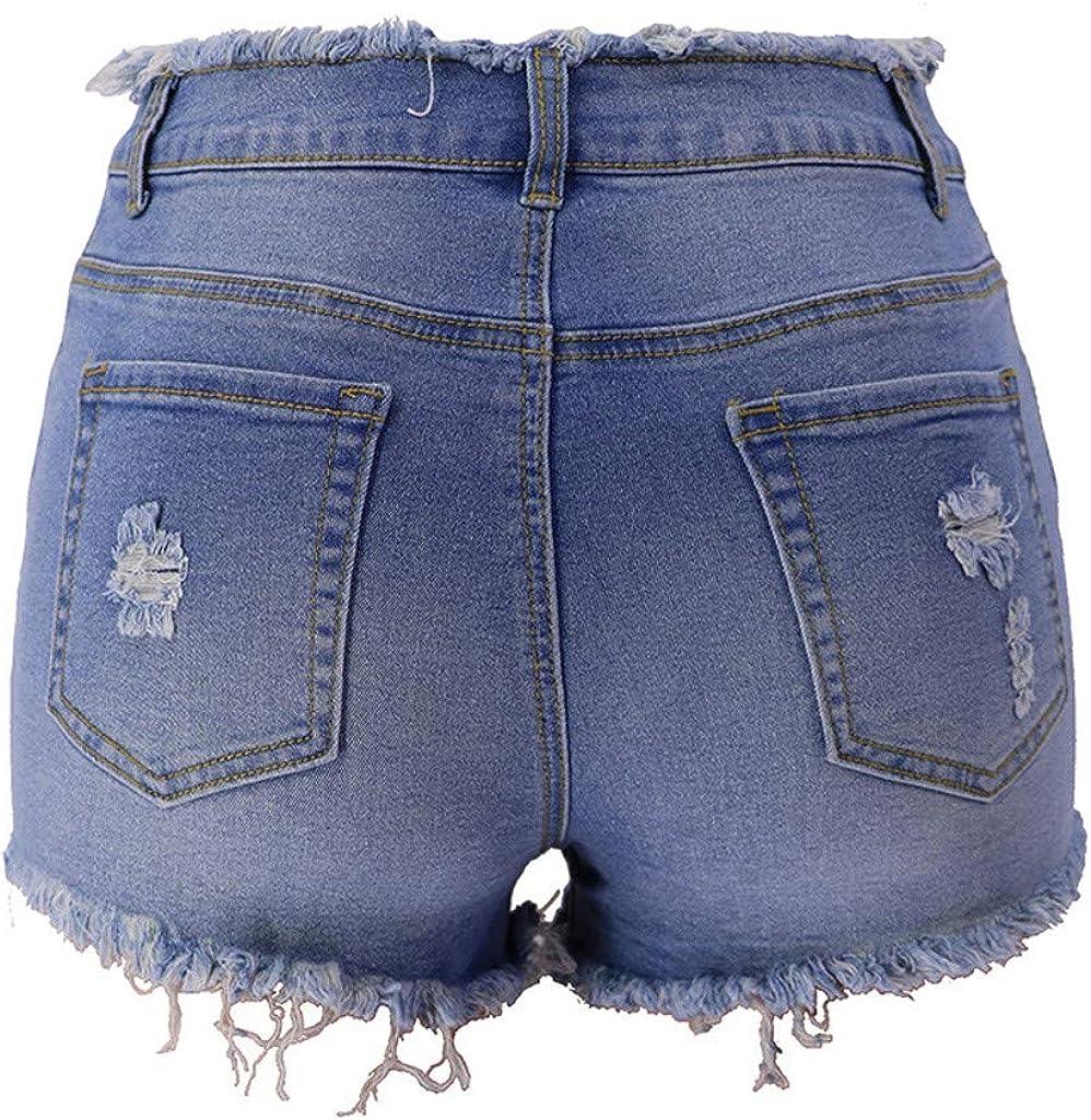 Rishine Women's Mid Rise Shorts Frayed Raw Hem Ripped Denim Jean Shorts Summer Distressed Stretchy Casual Shorts