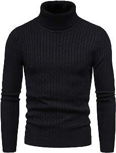 CELANDAJersey de Punto para Hombre Cálido Delgado Cuello Alto Sweater Pullover Manga Larga Suéter Suave Transpirable Otoño Invierno