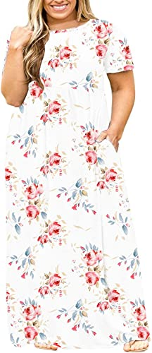 BISHUIGE Women Summer L-6X Plus Size Maxi Dress Long Dresses with Pockets