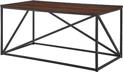 Walker Edison Modern Geometric Metal Rectangle Coffee Table Living Room Accent Ottoman Storage Shelf, 40 Inch, Walnut Brown