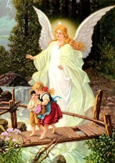 Guardian Angel with Children on Bridge picture POSTER print A3 image painting Catholic Religious Christian Holy Wall Art for Kids Children Home Decor Room
