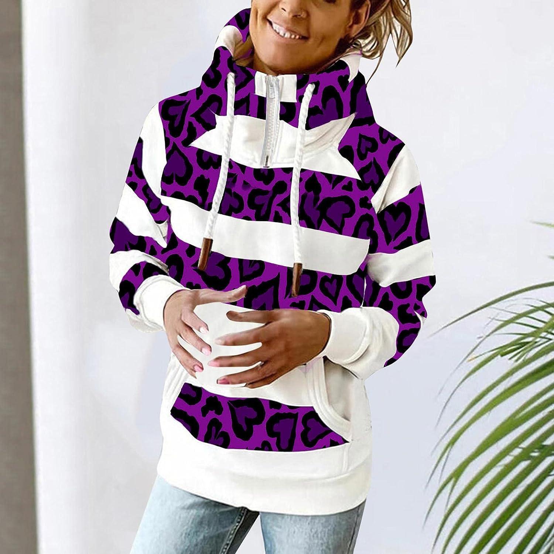 AODONG Hooded Sweatshirts for Women Casual Lightweight 1/4 Zipper Long Sleeve Striped Pullover Hoodies