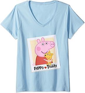 Femme Peppa Pig & Teddy T-Shirt avec Col en V