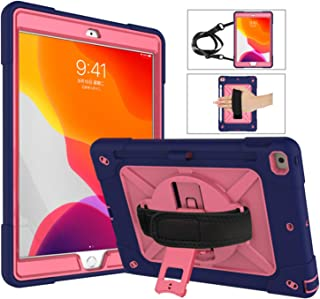 Neepanda Case for iPad 10.2 inch 2019, Shockproof Heavy Duty Rugged Protective Cover Case with Kickstand, Pencil Holder, Hand/Shoulder Strap for iPad 7th Generation 2019 10.2 inch,Rosy Navy