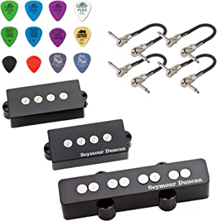 Seymour Duncan Quarter Pound P-J Bass Pickup Set - Bundled with 4 MXR Patch Cables and Dunlop Variety Pick Pack