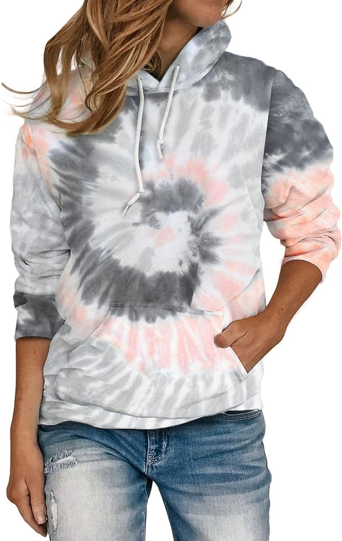 HOTAPEI Women Casual Long Sleeve Hoodies Loose Tie Dye Colorblock Sweatshirt Pullover Tops with Pocket