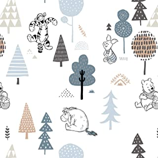 Winnie The Pooh Fabric Wonder and Whimsy Forest Friends in White Bamboo Flannel from Camelot