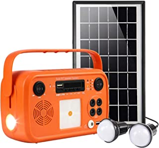 Portable Solar Generator Power Station with Solar Panel BT Speaker System with Bluetooth Flashlights, MP3 Player, FM Radio...