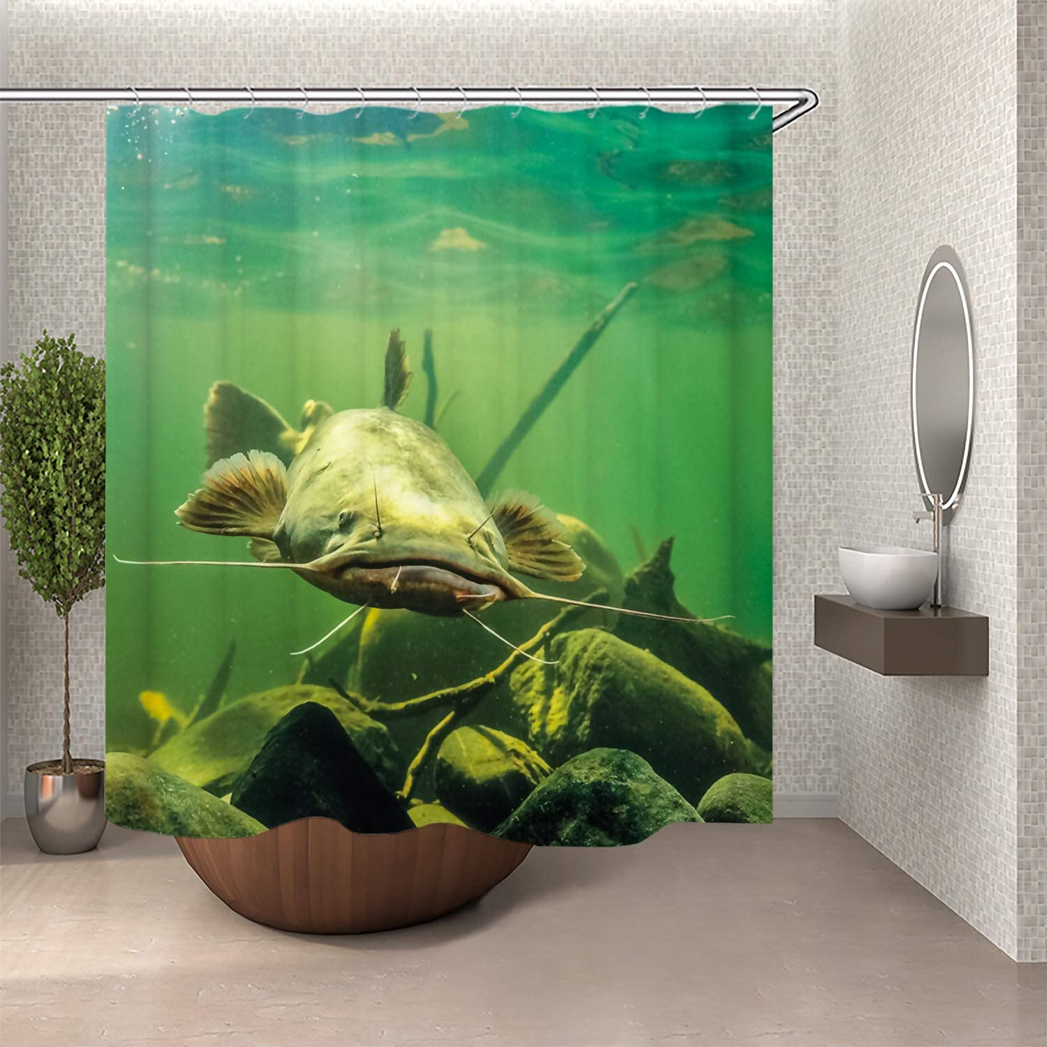 SARA NELL Shower Curtain Set Big in with Ranking TOP8 In stock Catfish Sho Stone River