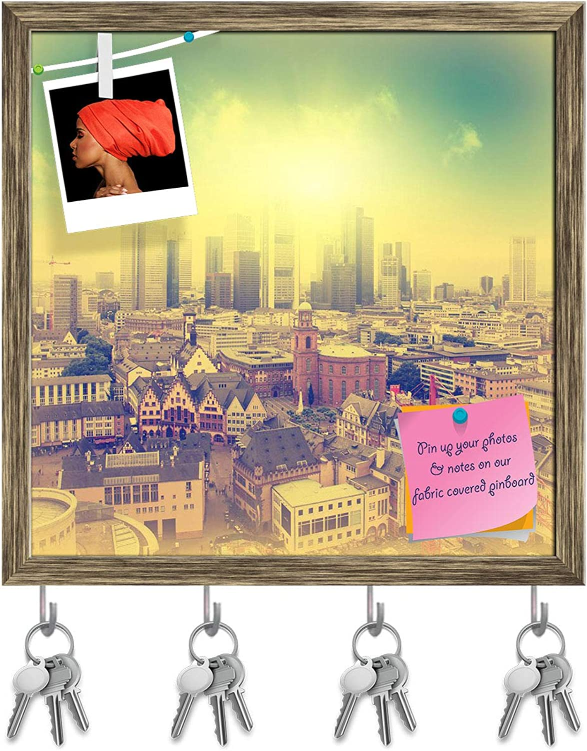 Artzfolio Aerial View of Frankfurt at Sunset, Germany Key Holder Hooks   Notice Pin Board   Antique golden Frame 20 X 20Inch