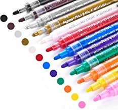 Acrylic Paint Marker Pens, Emooqi 12 Colors Premium Waterproof Permanent Paint Art Marker Pen Set for Rock Painting, DIY C...