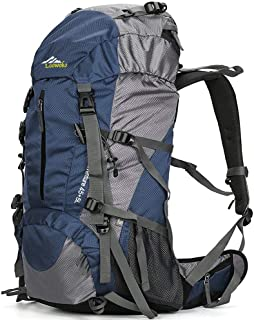 Loowoko Hiking Backpack 50L Travel Camping Backpack with Rain Cover - No Internal Frame