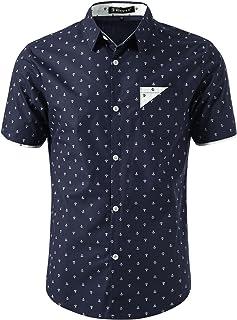 Men Point Collar Button Down Short Sleeve Anchor Pattern Casual Collar Contrast Shirt