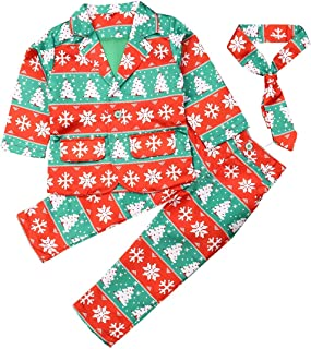 Toddler Baby Boy Formal Christmas Outfit Santa Blazer Jacket+Long Pants+Necktie Gentleman Suits Xmas Clothes Set