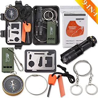 Monoki Emergency Survival Kit, 9-in-1 Compact Outdoor Survival Gear Kits Portable EDC Emergency Survival Tool Set with Gift Box for Camping Hiking Hunting Climbing Travelling Wilderness Adventures
