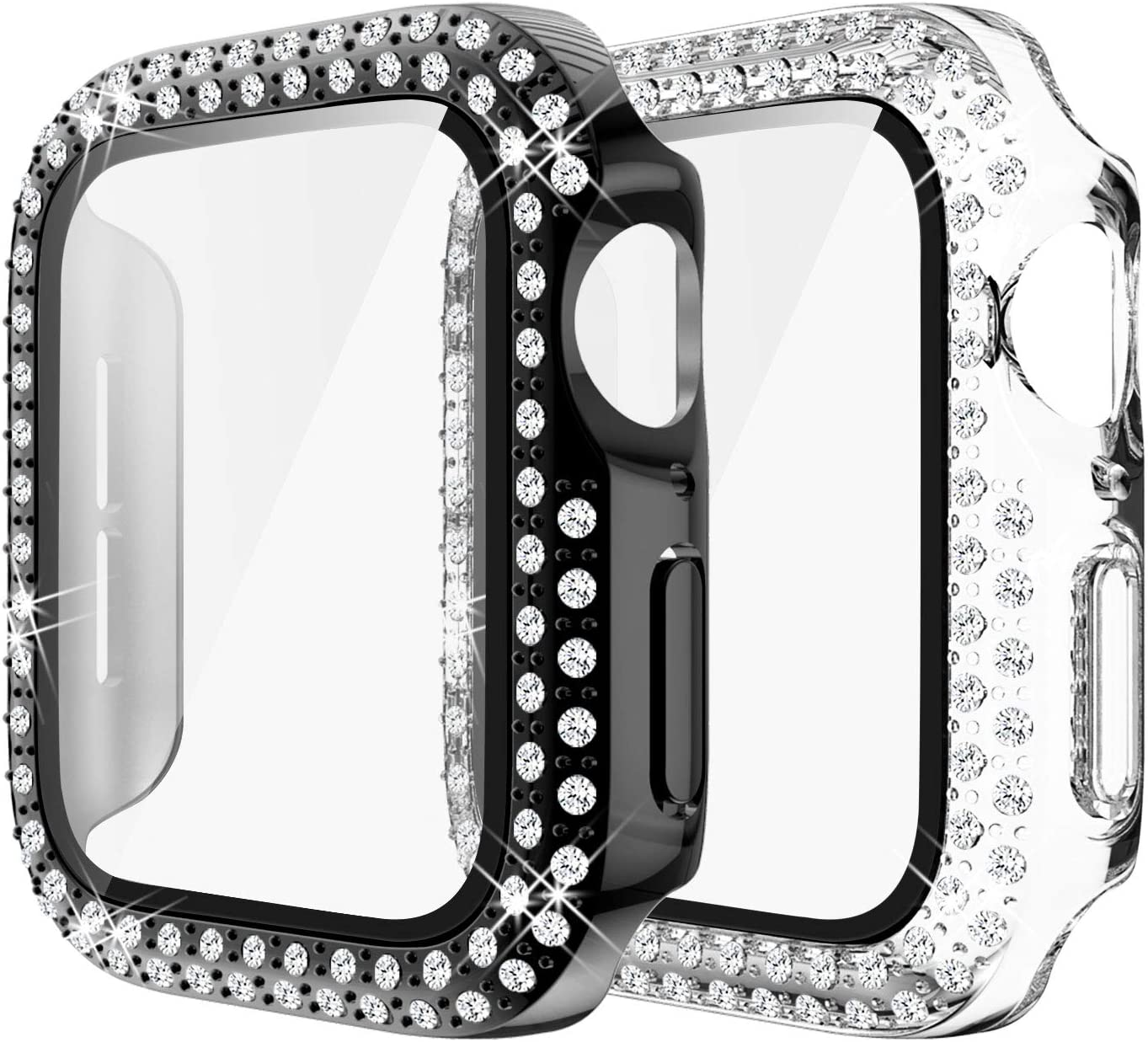 Yolovie (2-Pack) Compatible for Apple Watch Case with Screen Protector 44mm Series 6/5/4/SE, Bling Cover Diamonds Rhinestone Bumper Protective Frame for iWatch Girl Women (Clear/Black)