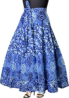 Mudrika Women's Mandala Hand Block Printed Long Wrap Around Skirt (Multicolor,Free Size)