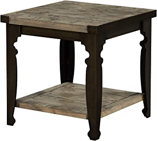 Verona Square End Table in Natural Pine with Plank Style Top And Open Shelf, by Artum Hill