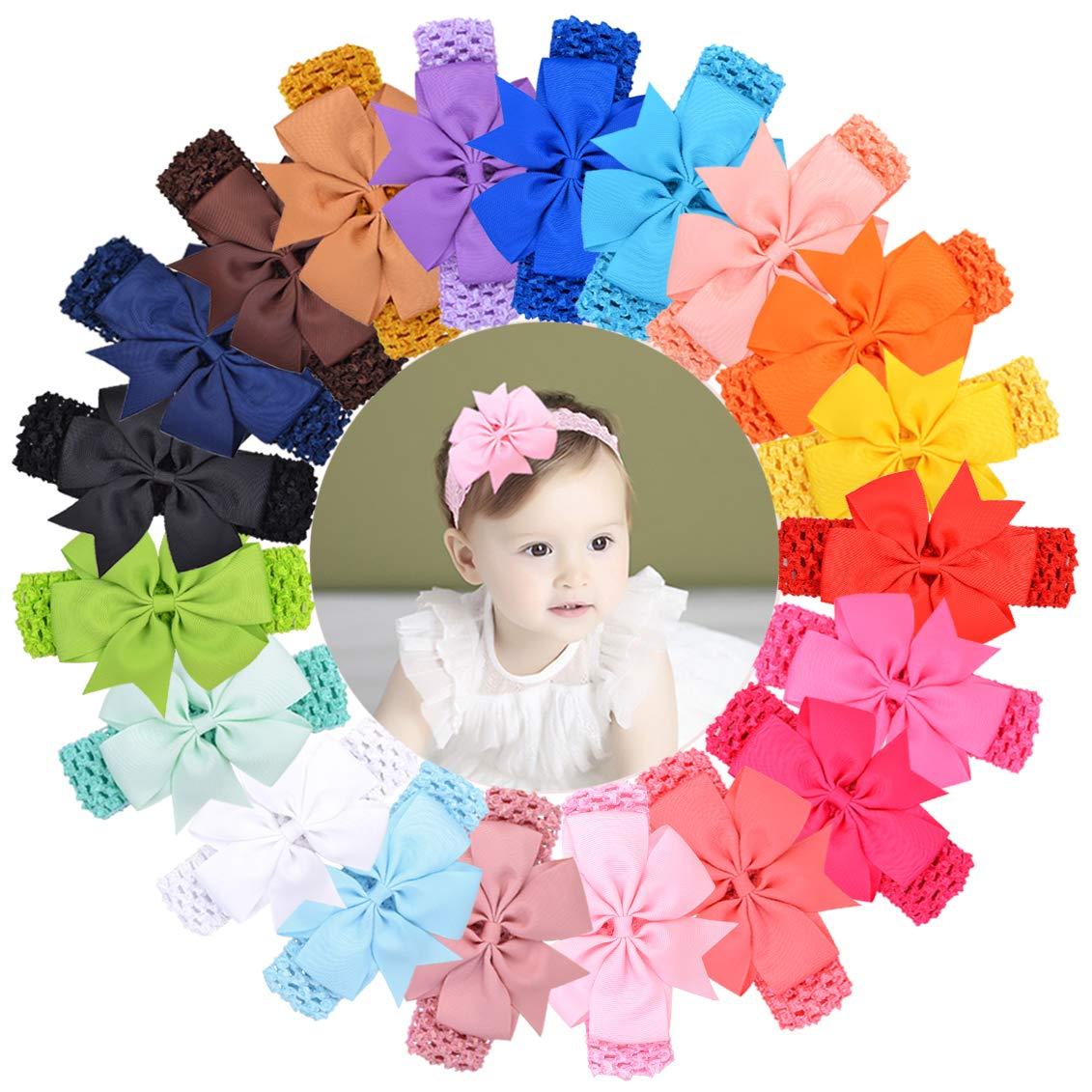 20pcs Baby Girls Purchase Headband Pinwheel Bows Hair New sales Grosgrain Bands Rib