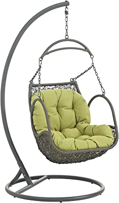 Modway Arbor Wicker Rattan Outdoor Patio Porch Lounge Hanging Swing Chair Set with Stand in Peridot