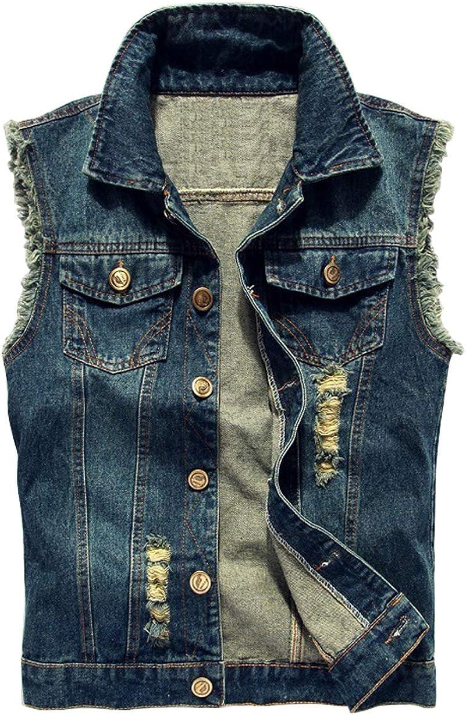 chouyatou Men's Stylish Button Up Frayed Cuff Ripped Hole Denim Vest Jacket